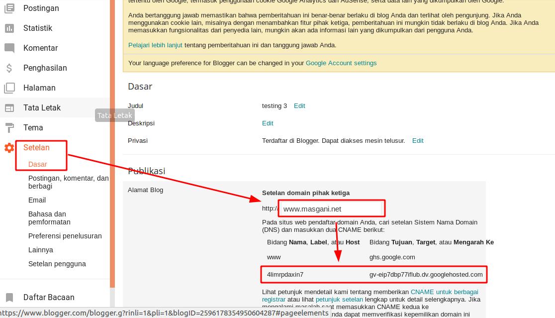 Setelan url pihak ketiga untuk blogspot