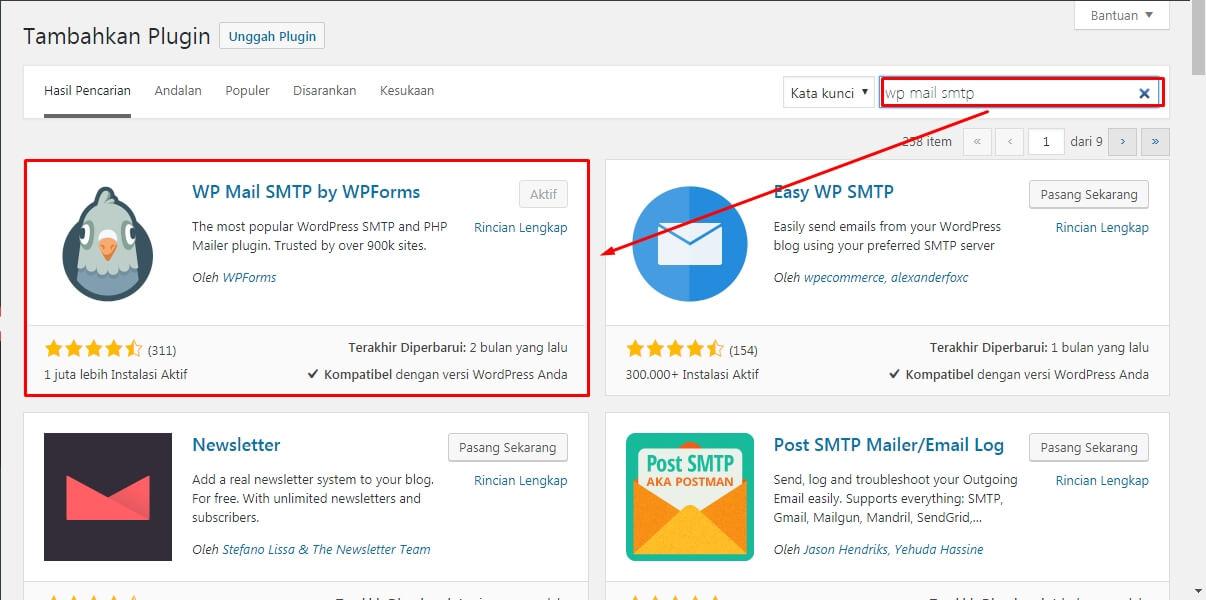 install plugin wp mail smtp