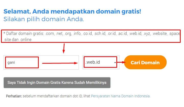 Memilih domain gratis