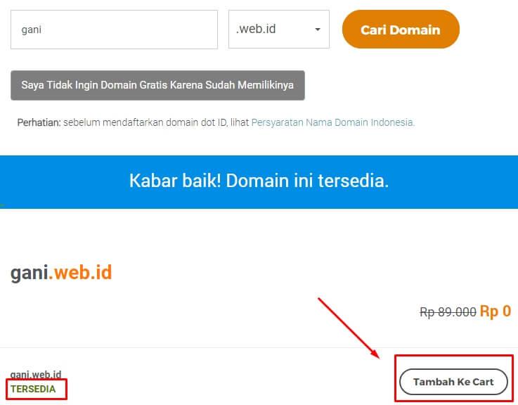 Menambahkan domain ke cart