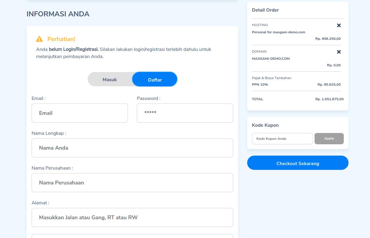 Mendaftarkan akun baru