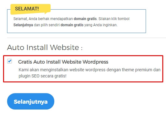 Pilih auto install wordpress