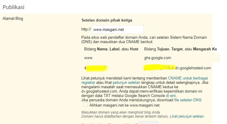 informasi record dns cname