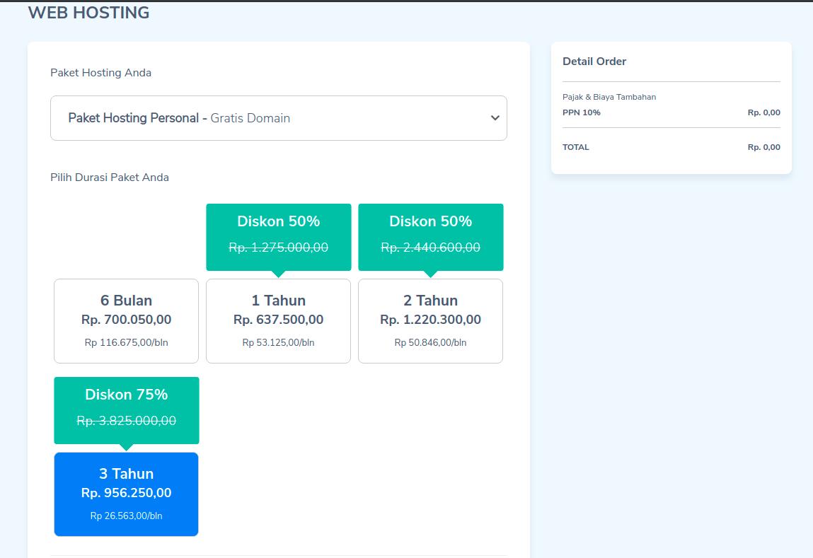 memilih paket hosting