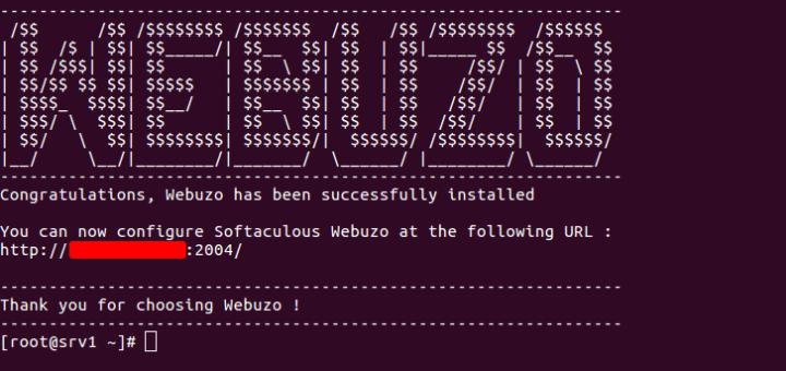 Selesai install webuzo