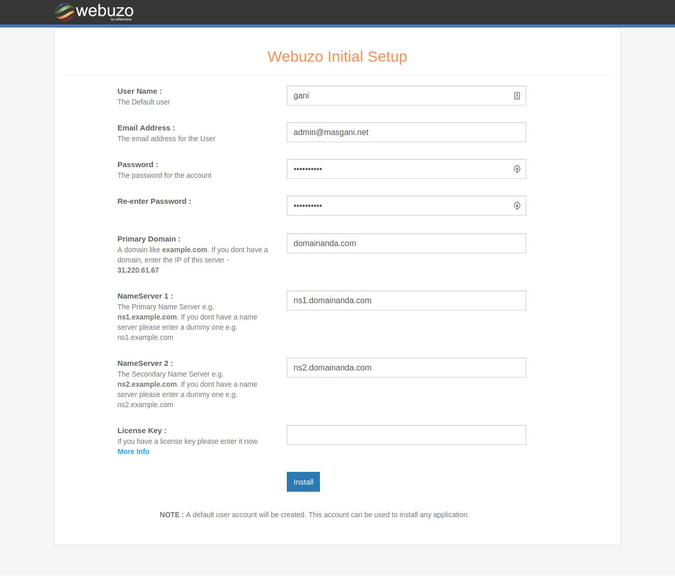 konfigurasi webuzo