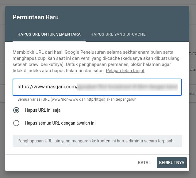 masukan url yang akan dihapus