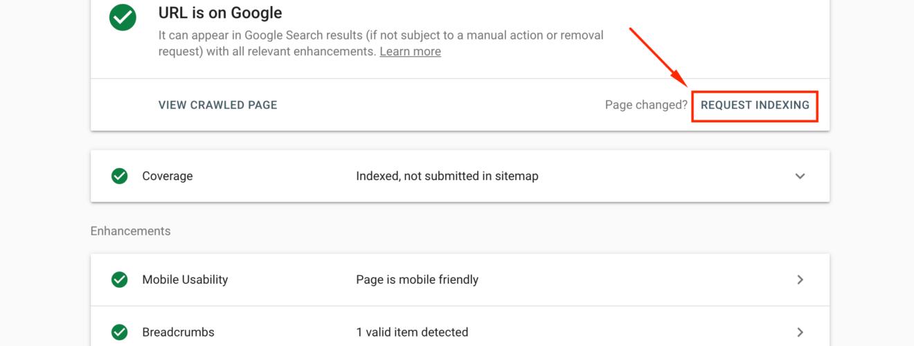 Fitur Request Indexing sudah bisa digunakan lagi