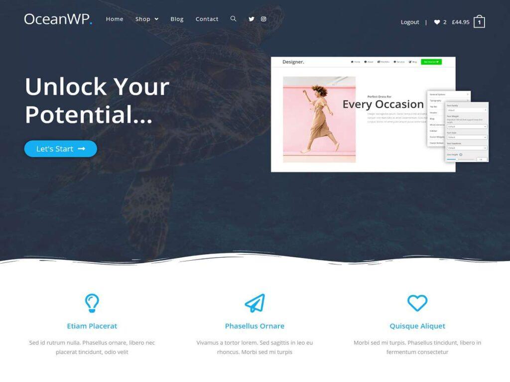 Ocean WP tema wordpress gratis terbaik