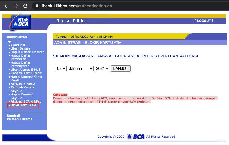 memblokir kartu atm melalui internet banking bca